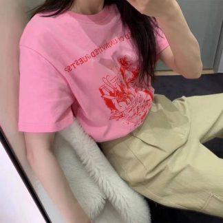 2020夏季新款golly自制时尚印花纯棉清新粉色宽松休闲t恤上衣