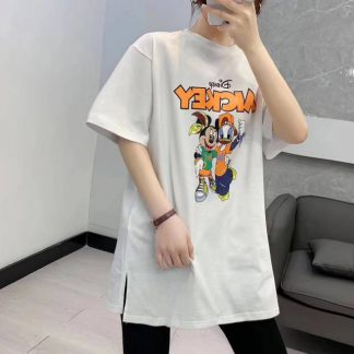 2020夏季新款宽松百搭时尚迪士尼米奇印花中长款t恤上衣