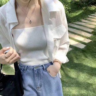 2020夏季新款短款抽绳暗条纹宽松显瘦防晒衫显高衬衫女