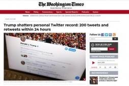 评论有笑点~特朗普单日发Twitter达到200条!